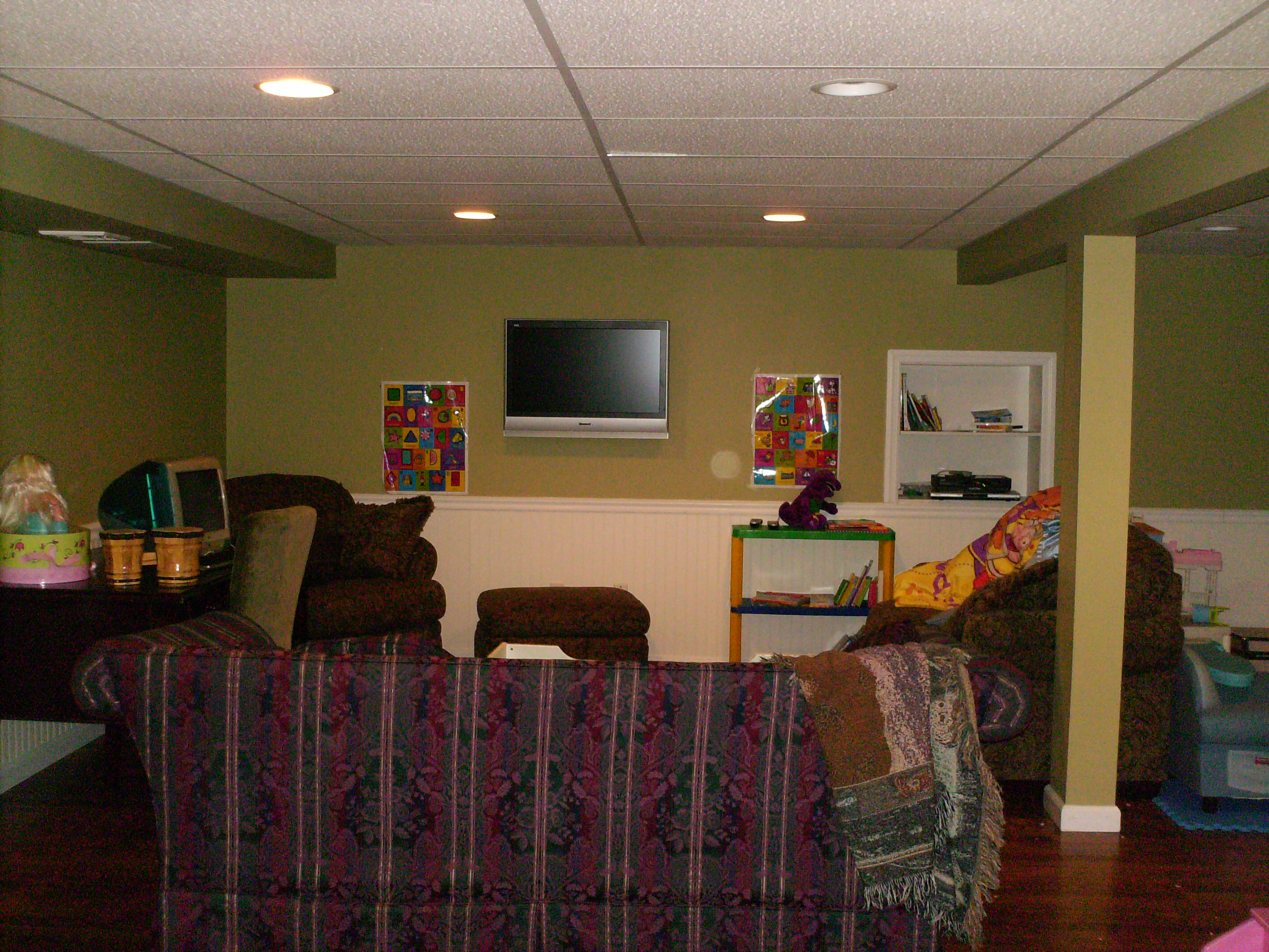 Home Theater Man Tv Installations Surround Sound Tvs Wiring With Cable Box Wires Concealed And Custom White Shelves Built Into Wall To Store Dvd